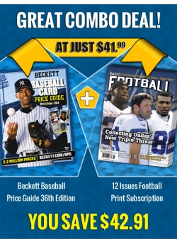 Beckett Baseball Price Guide 36th Edition PLUS 12 Issues Football Print Subscription