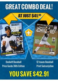Beckett Baseball Price Guide 36th Edition PLUS 12 Issues Baseball Print Subscription